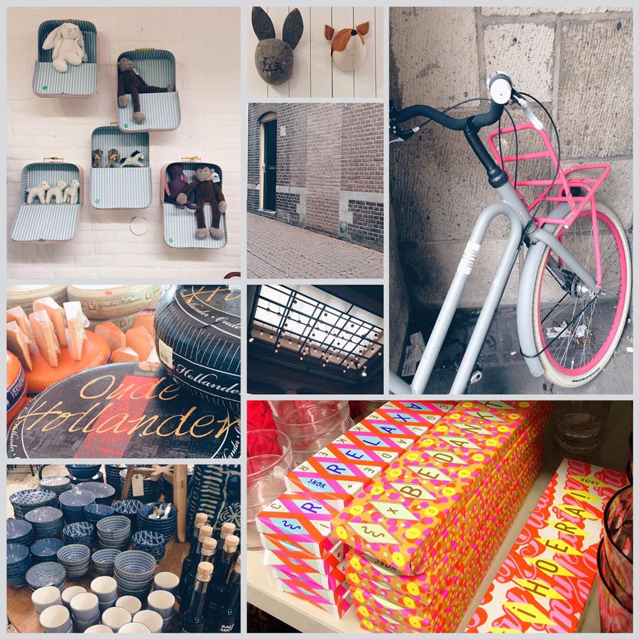Bilder aus der Stadt Arnheim unter anderem von einem holländischen Fahrrad, Käserädern und Dekoration aus dem Laden Sissy Boy