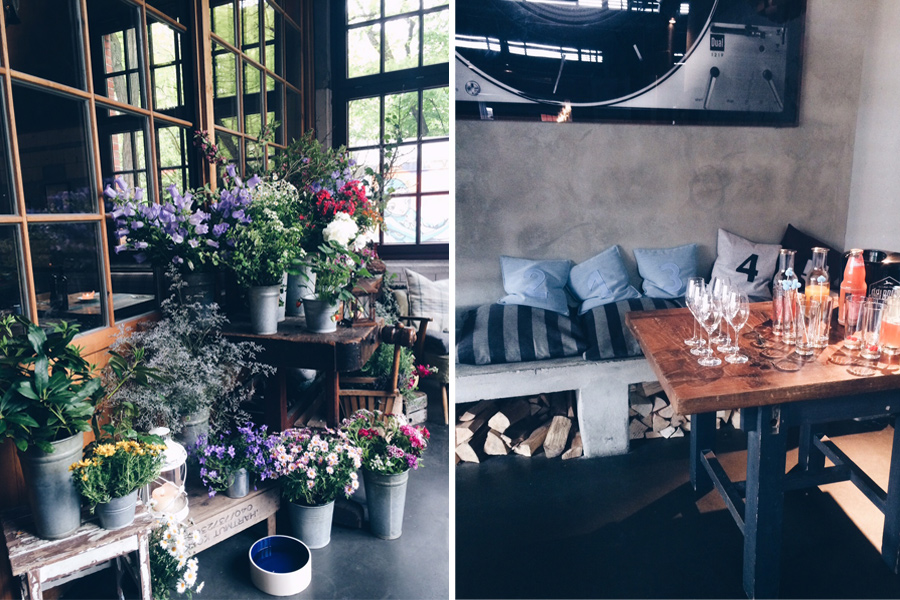Blumendeko im Eingang eines Restaurants in Hamburg sowie ein Getränkebuffet innerhalb des Restaurants