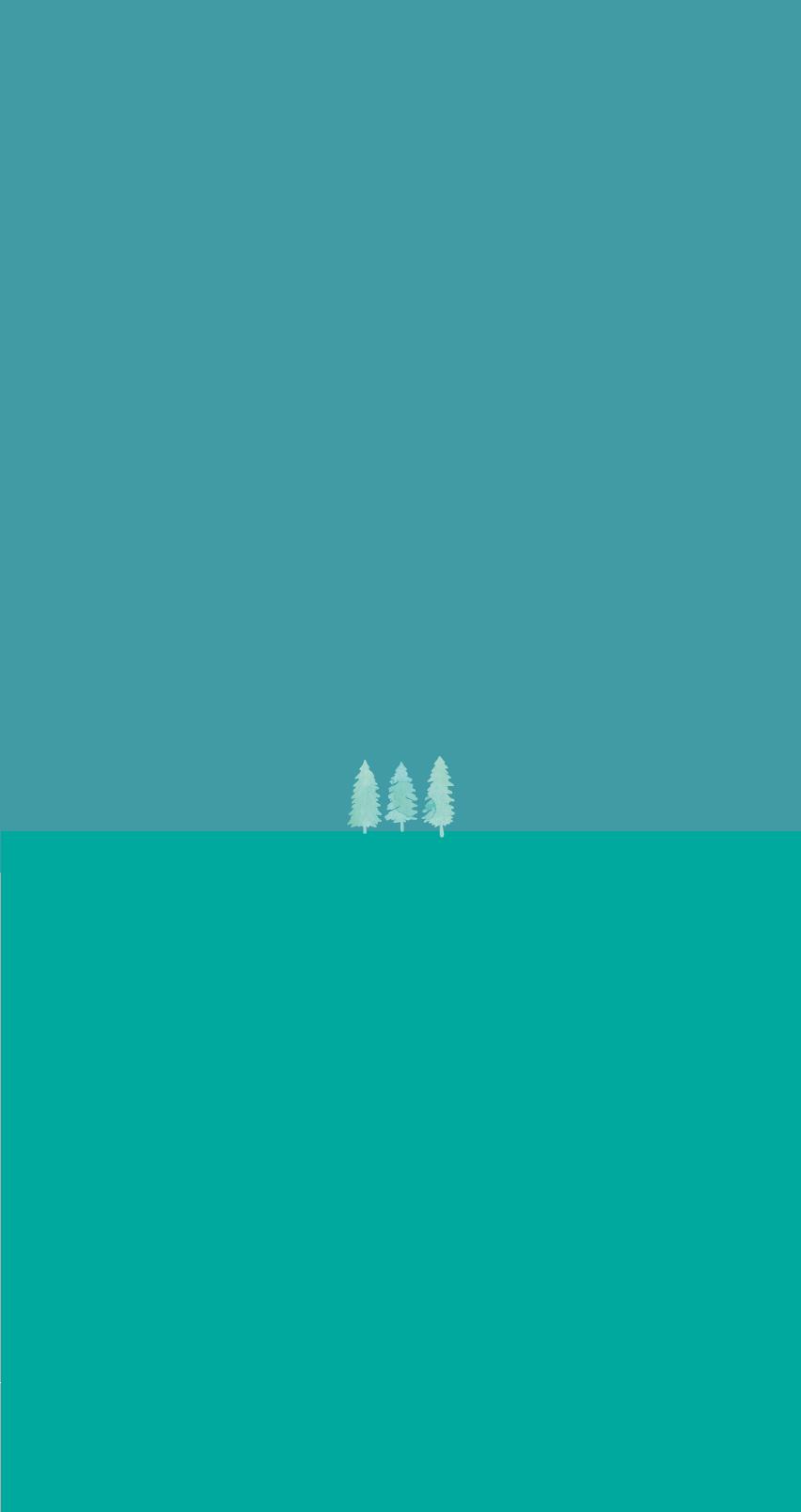 Drei grüne Bäume auf einer grünen Fläche