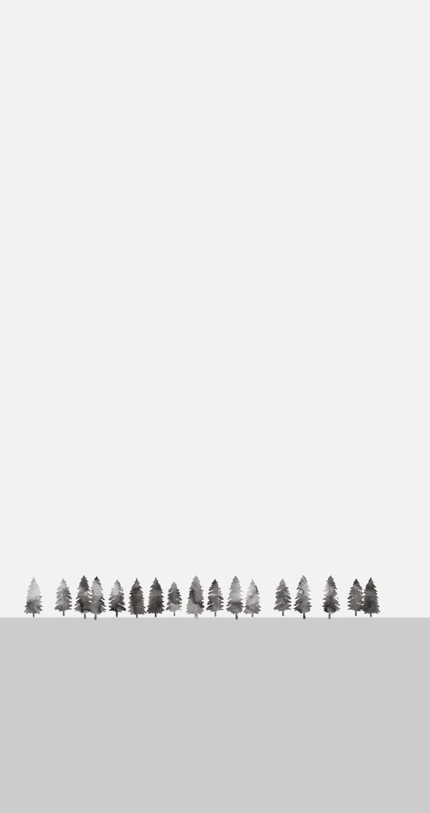 Graue Bäume vor einem hellgrauen Hintergrund