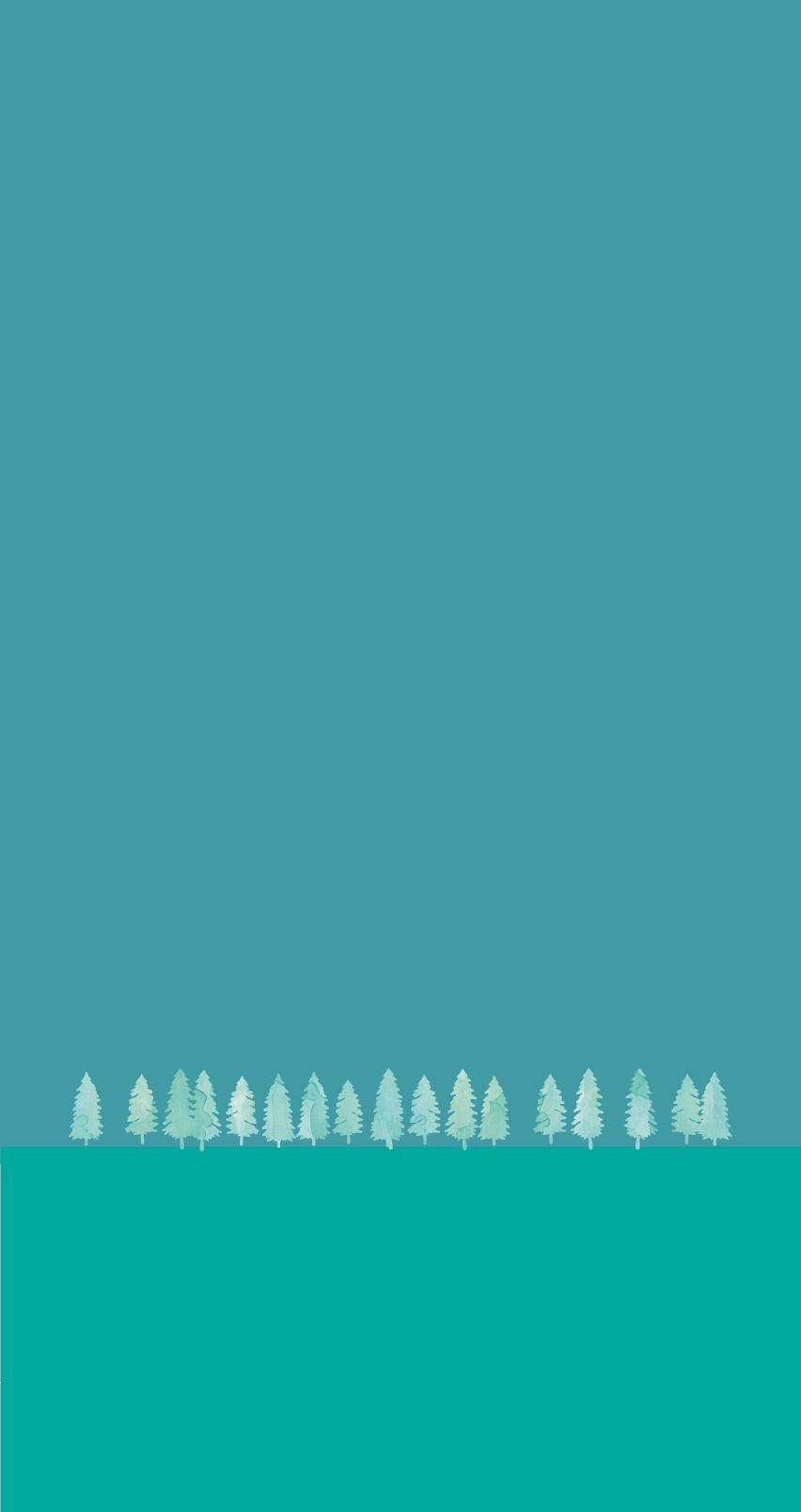 Grüne Bäume vor einem türkisen Hintergrund