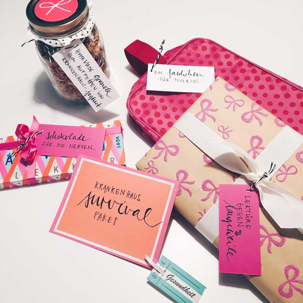 Krankenhaus-Survival-Paket mit Schokolade, Muesli und Lektuere