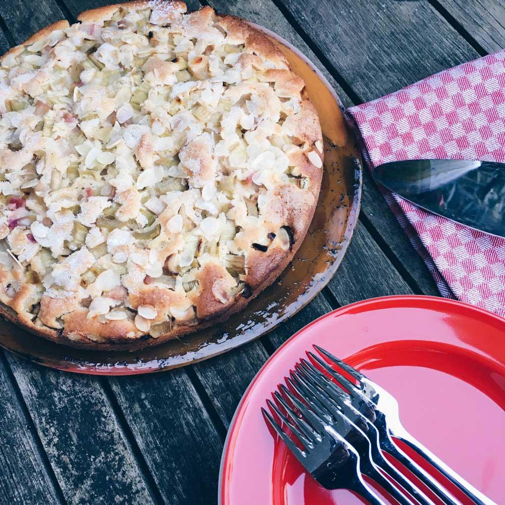 Rhabarberkuchen auf einer Platte