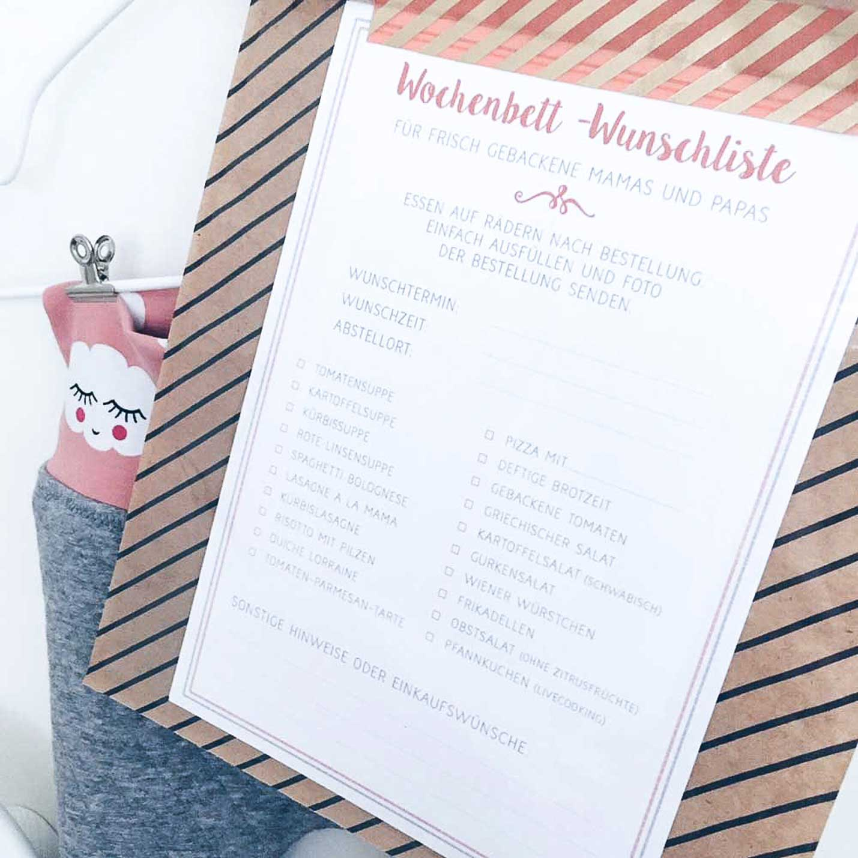 Free Printable – Wochenbettwunschliste als Geschenk zur Geburt