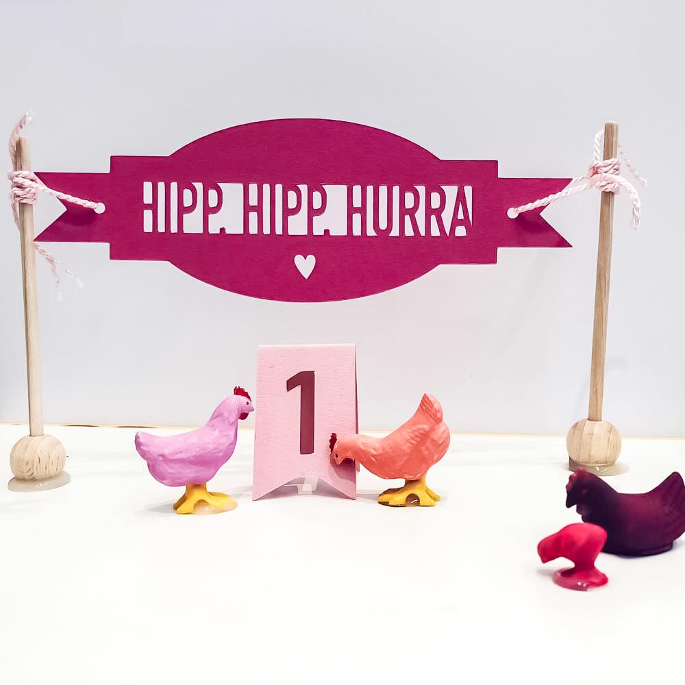 Geburtstagsparade mit geplottetem Banner als Kindergeschenk