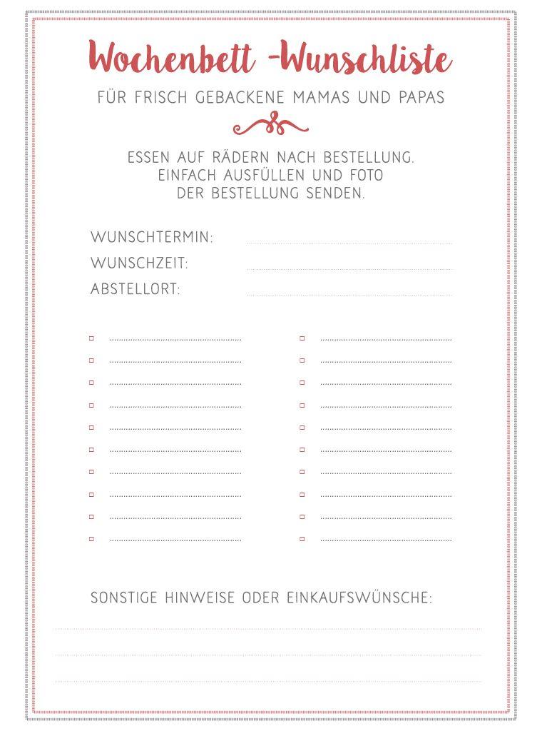Vorlage Wochenbett-Wunschliste zum Download als Geschenk zur Geburt