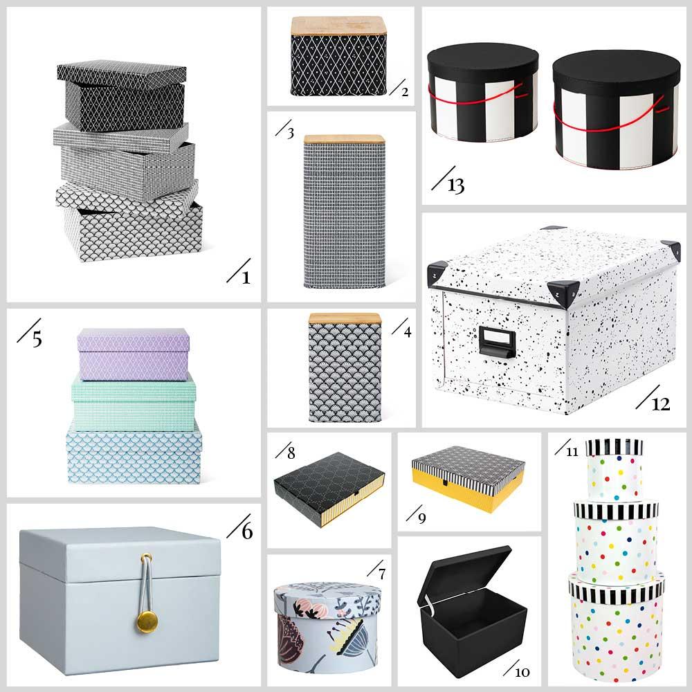 Übersicht vieler Kisten und Boxen als Geschenkverpackung