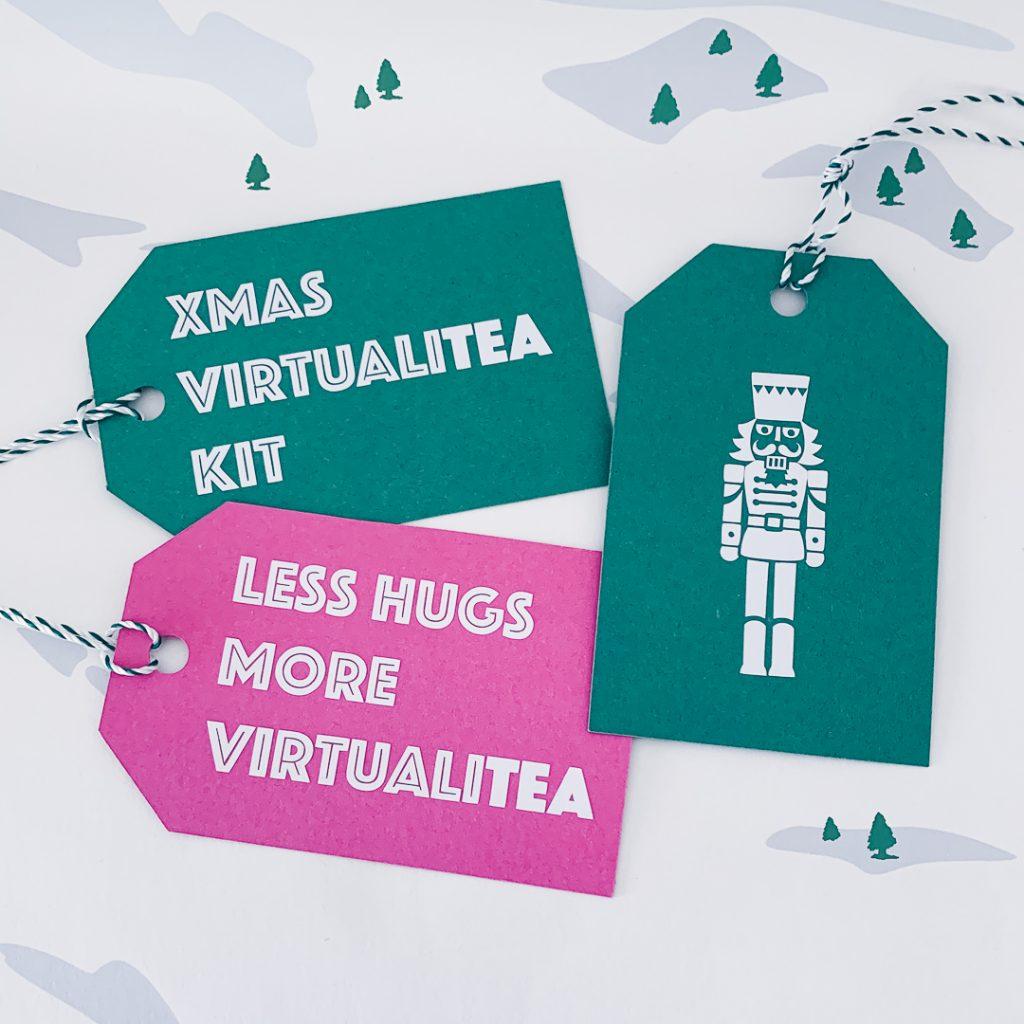 Geschenkanhänger mit der Aufschrift Less Hugs more Virtualitea